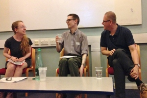 Katherine Inglis, Andrew Janes and Wim Van Mierlo in discussion on the panel, 'Perverted Pages'.